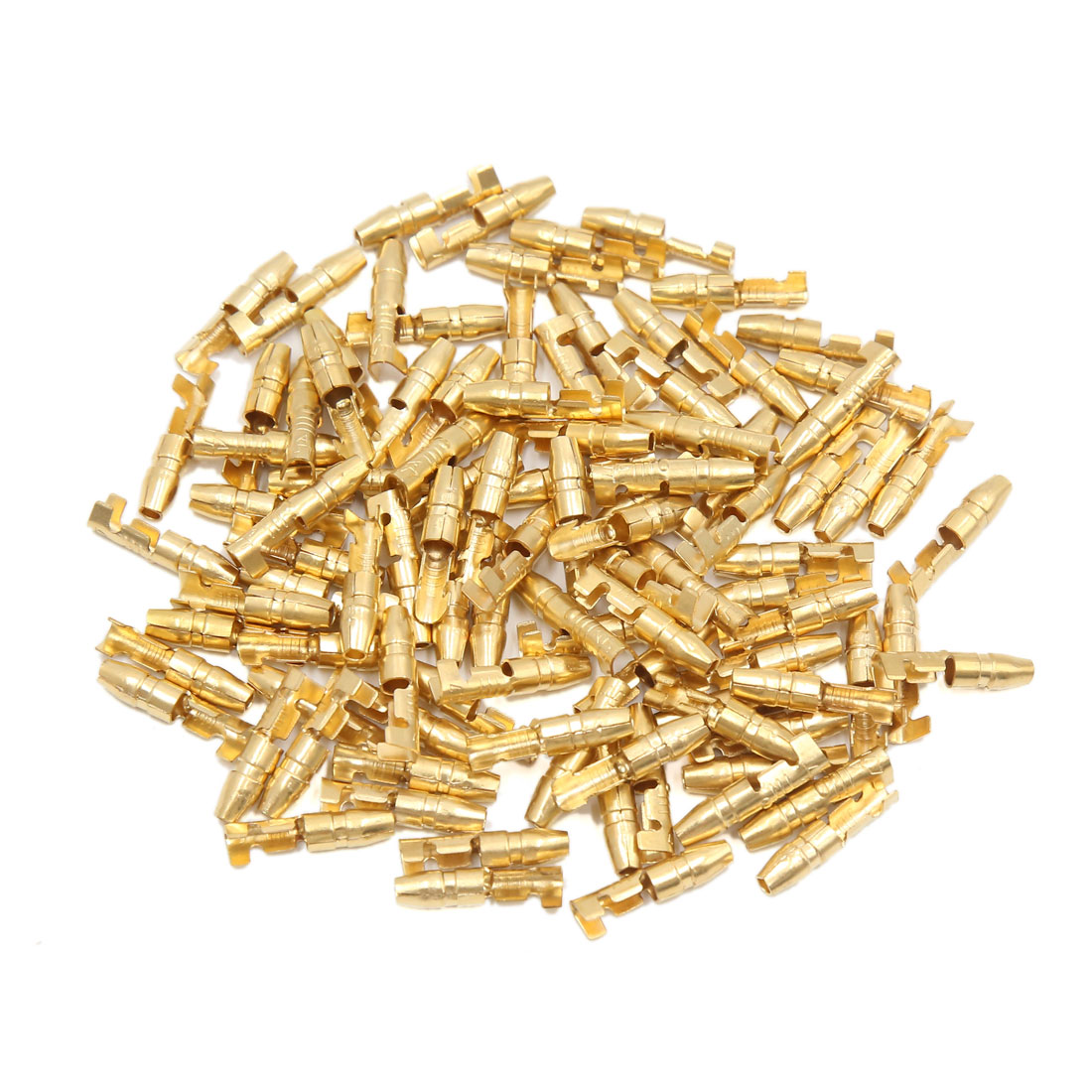 100pcs Gold Tone 3mm Hole Diameter Female Spade Terminals Connectors for Car