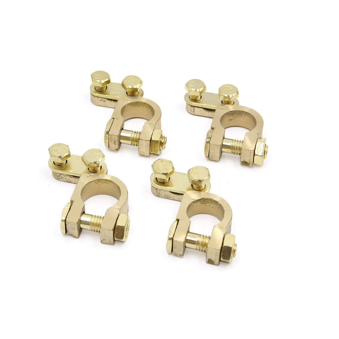 4pcs Gold Tone Copper Alloy Car Truck Vehicle Battery Terminal Clamps Clips
