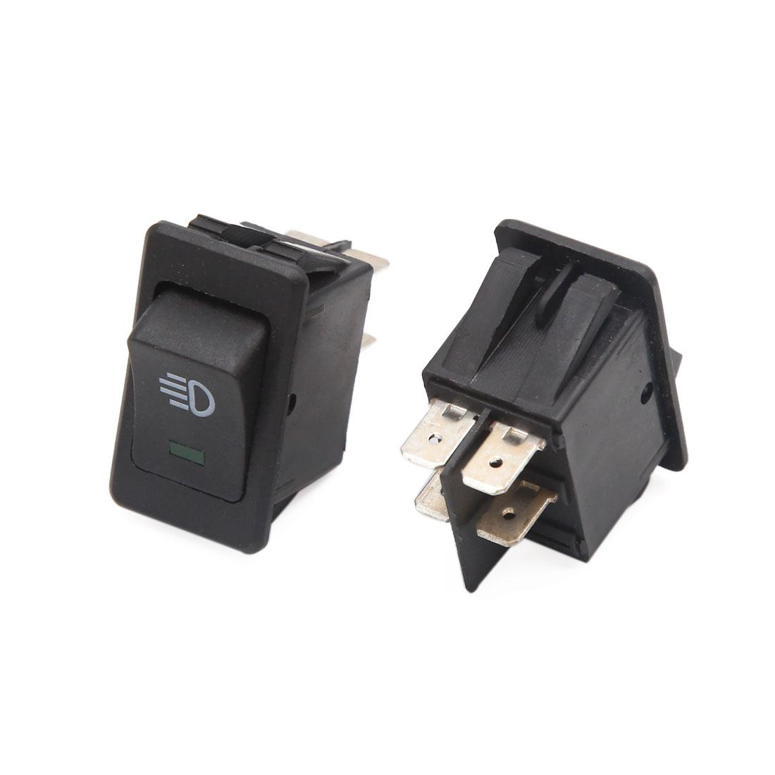 2pcs DC 12V 4 Pin Green LED Dashboard Fog Light Rocker Toggle Switch for Car