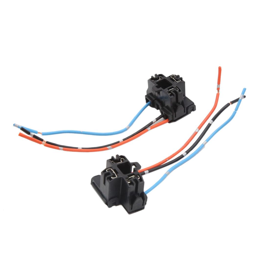 2pcs Plastic 3 Terminal Car H4 Headlight Fog Lamp Bulb Wiring Harness Socket Connector