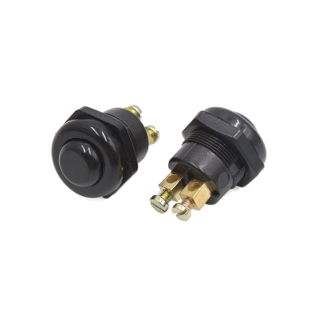 2pcs DC 12V Black Round Cap Momentary Press Push Button Switch for Car Vehicle