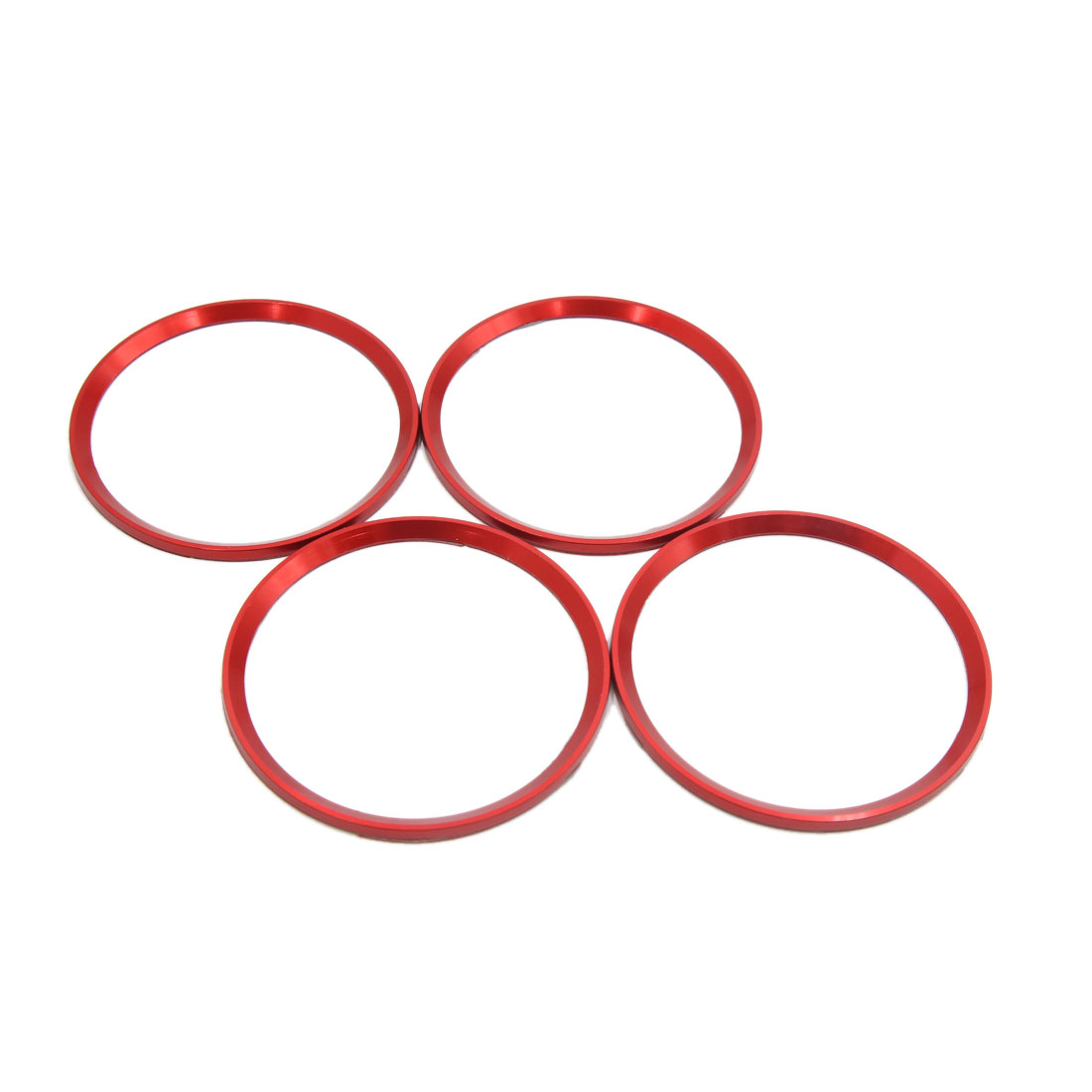 4pcs Red Car Wheel Center Hub Emblem Decorative Trim Ring Circle for Audi