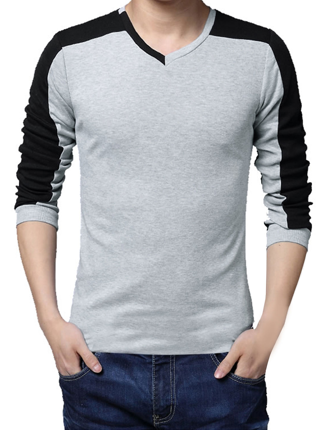 Men V-neck Long Sleeved Contrast Color Tee Shirt Gray Small
