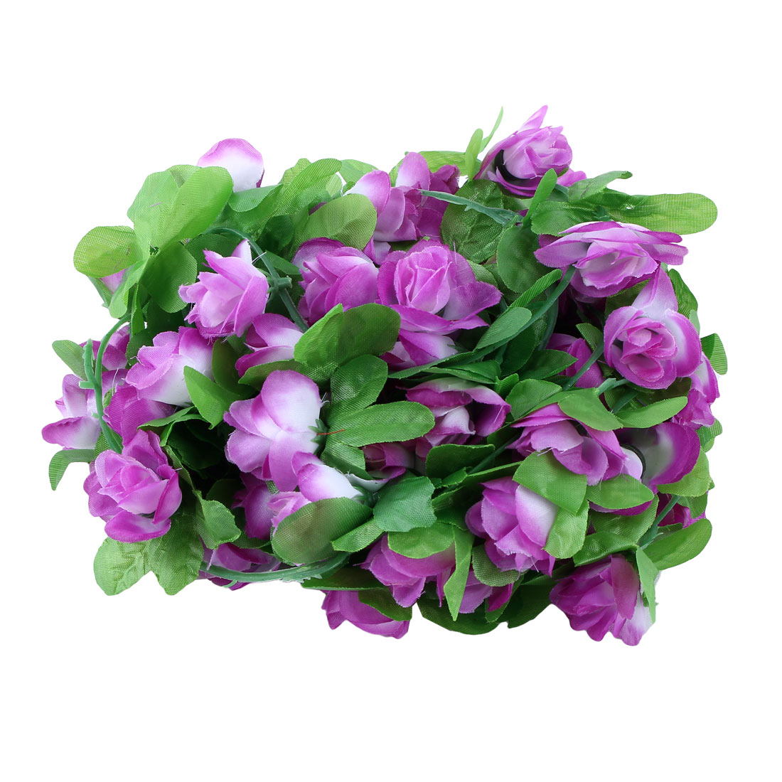 Home Plastic Artificial Flower Hanging Ivy Vine Purple White 7.2ft Length 2pcs