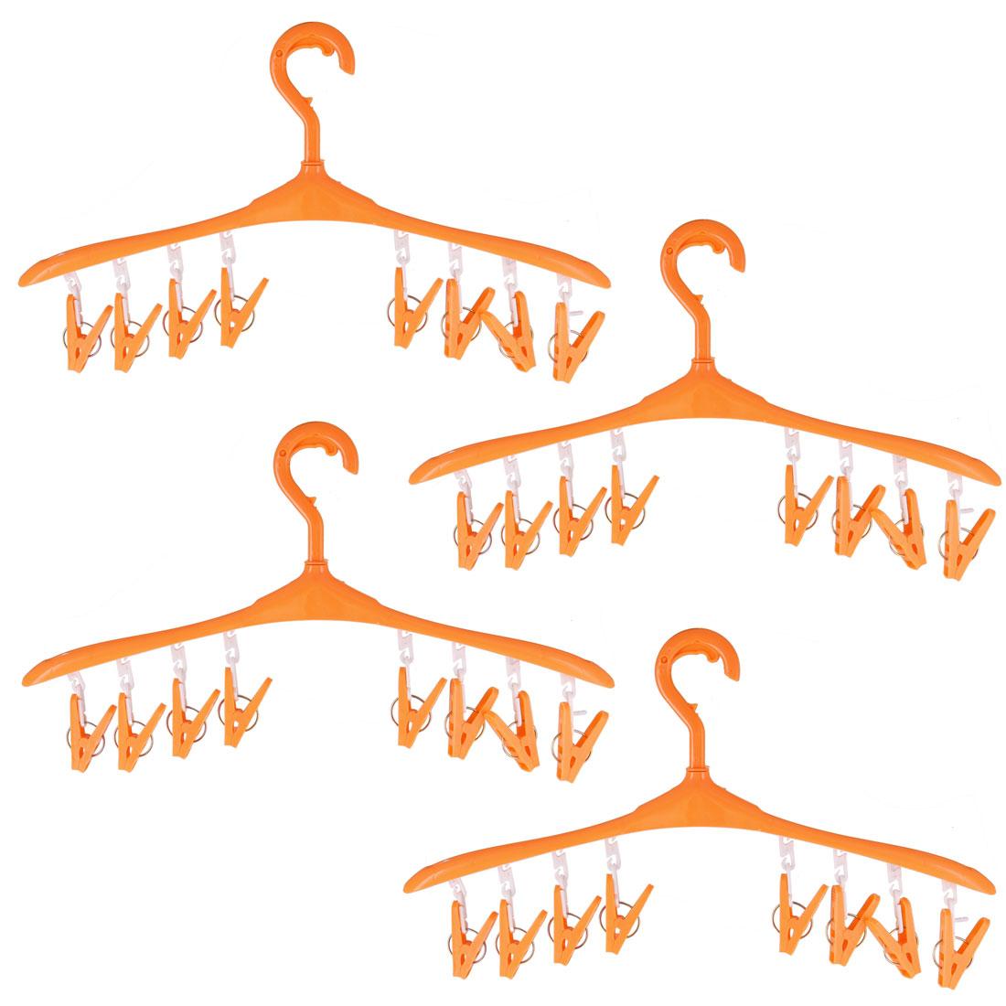 Outdoor Plastic 8 Clips Nonslip Drying Rack Clothes Socks Pants Hanger Orange 4pcs