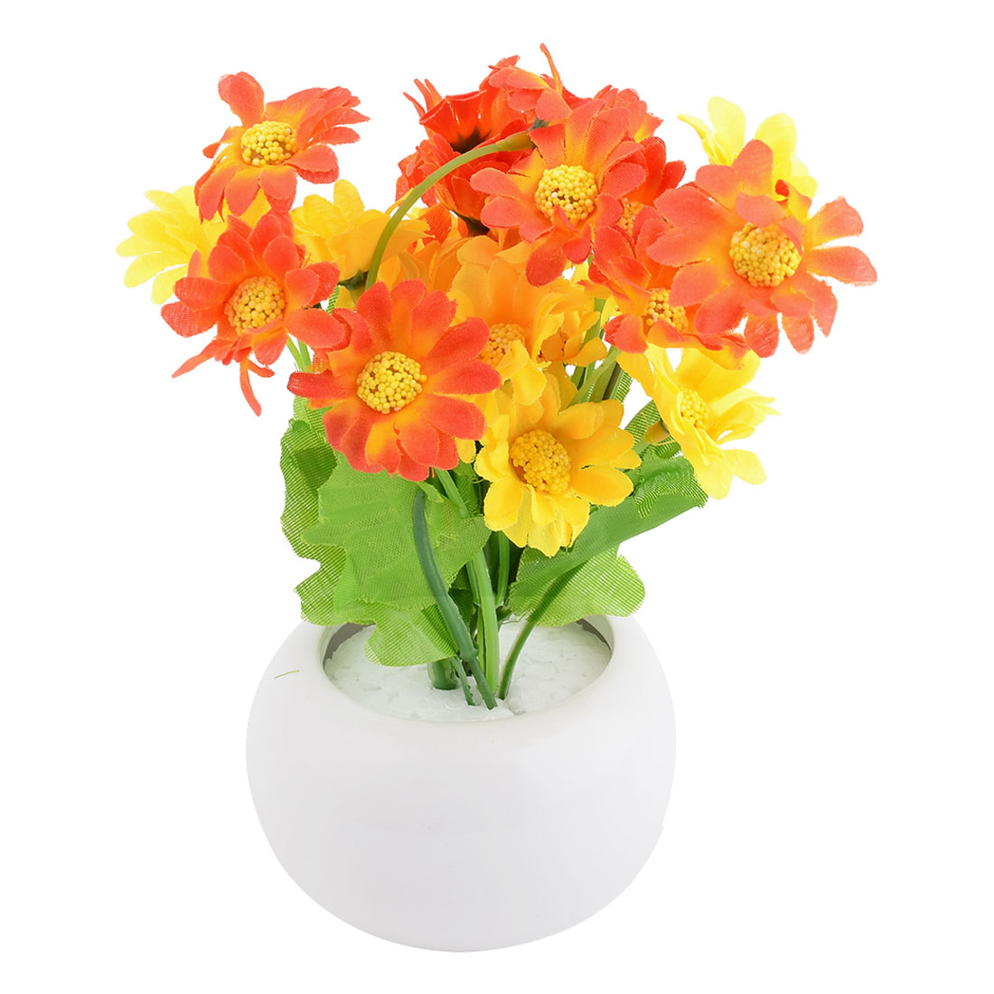 Family Office Ceramic Flowerpot Desk Ornament Artificial Emulational Flower Orange Yellow