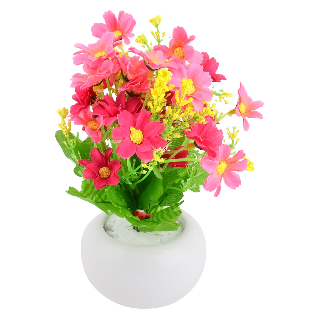 Family Office Ceramic Flowerpot Desk Ornament Artificial Emulational Flower Fuchsia Pink