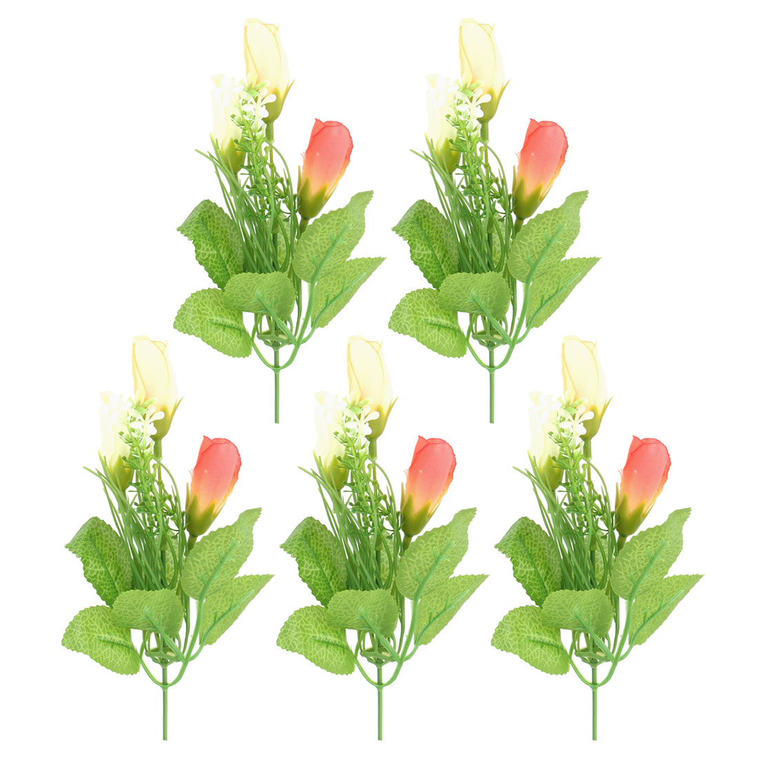 Wedding Party Fabric Tulips Buds Artificial Emulational Flower Blossom Light Orange 5pcs