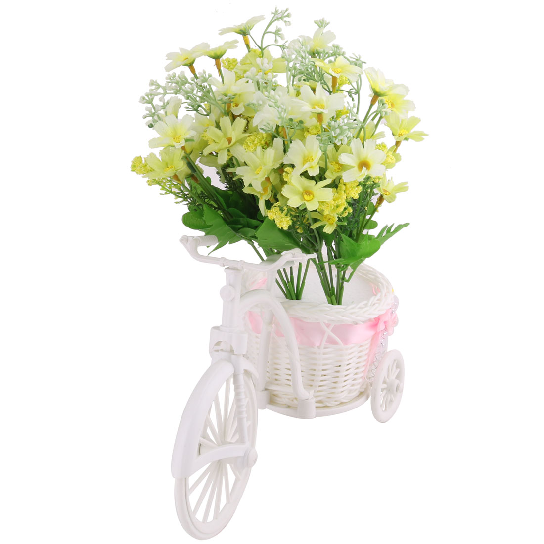 Party Plastic Tricycle Holder DIY Craft Decorative Artificial Simulation Flower Light Yellow