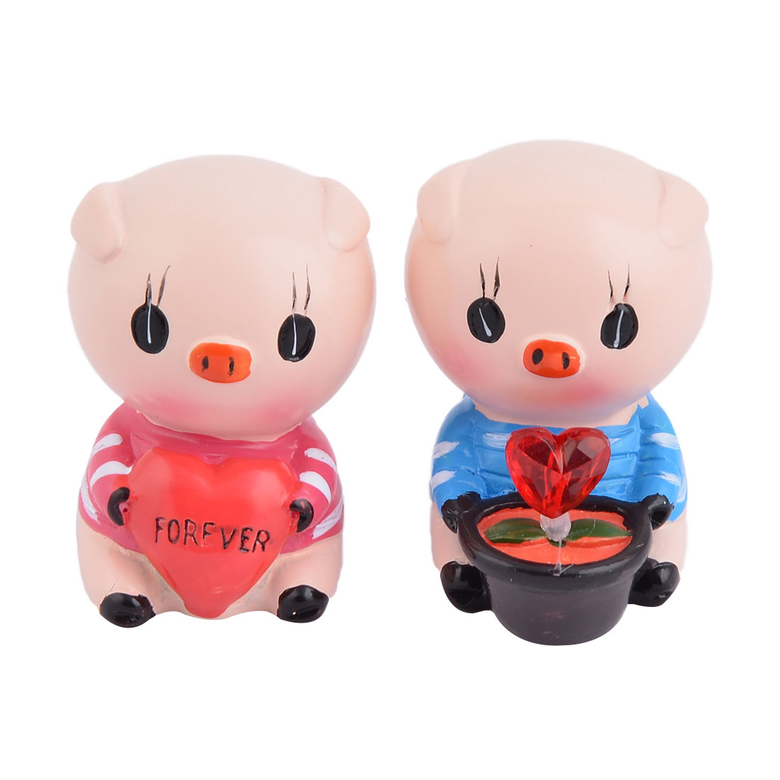 Wedding Birthday Resin Pig Design Craft Gift Table Desktop Ornament Decor 2 in 1
