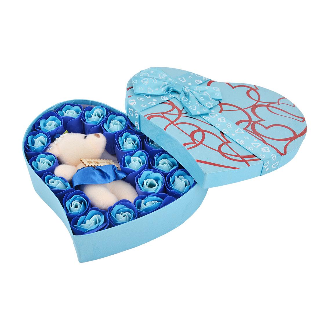 Festival Gift Heart Shaped Box Artificial Rose Flower Decor Bath Soap Petal Royal Blue 22 in 1