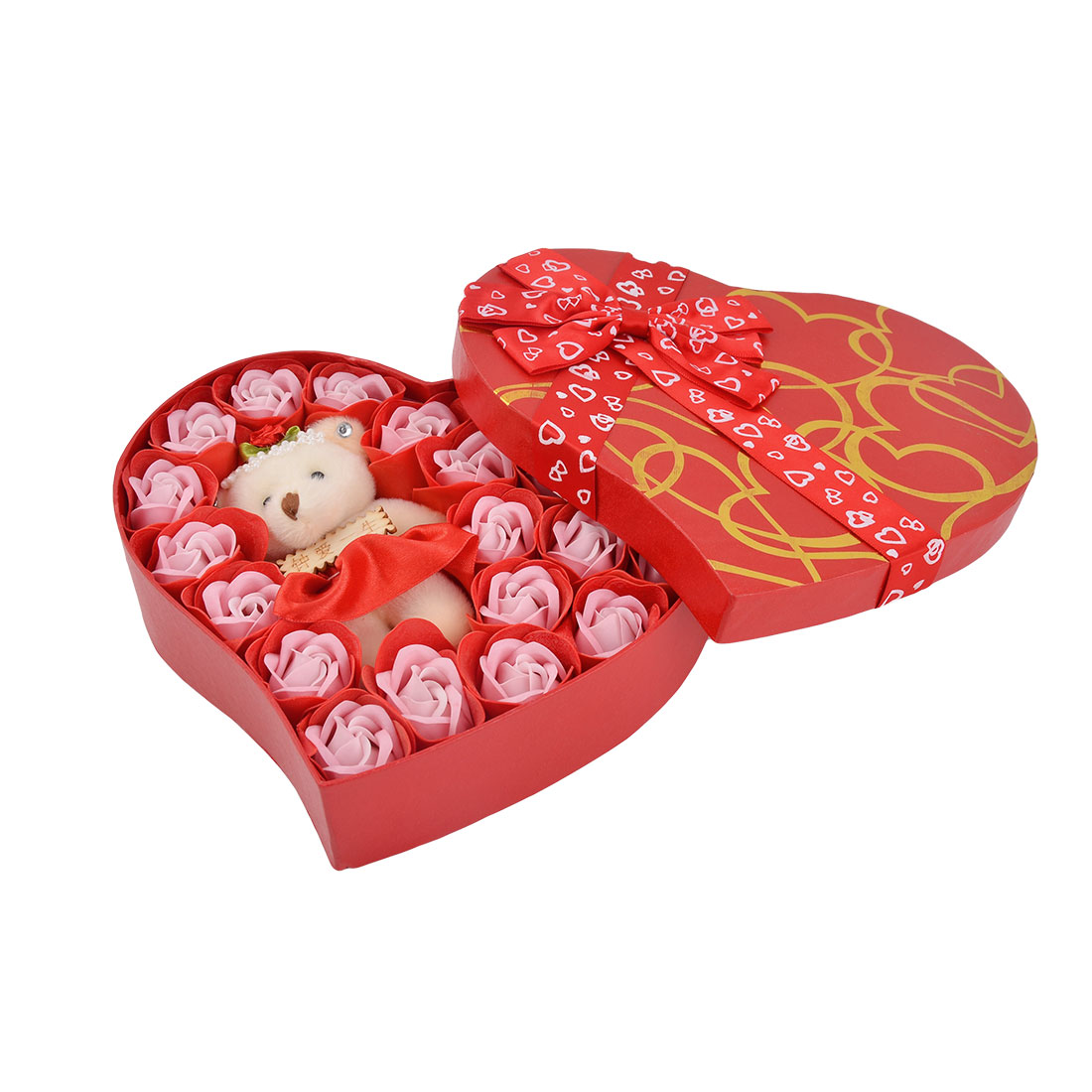 Festival Gift Heart Shaped Box Artificial Rose Flower Decor Bath Soap Petal Red 22 in 1
