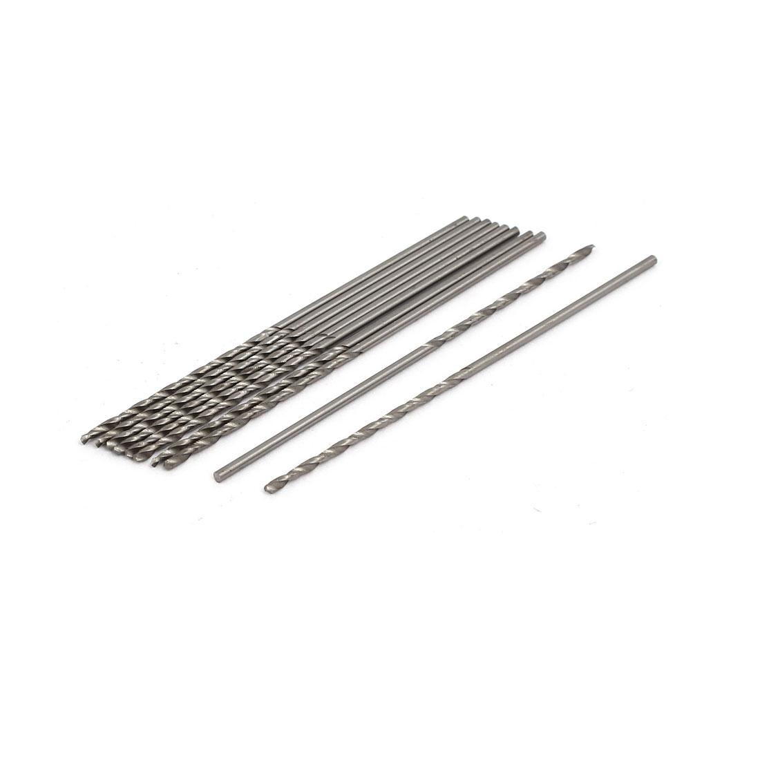 1.4mm Dia HSS Double Flutes Straight Shank Twist Drill Bits Silver Tone 10pcs