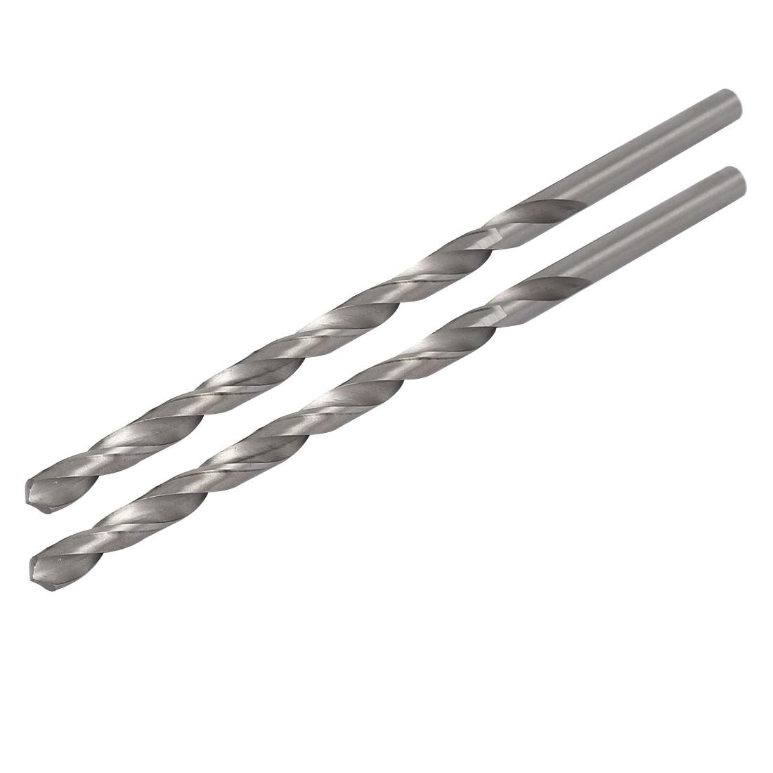 8mm Dia 200mm Long HSS Straight Round Shank Twist Drill Bit Drilling Tool 2pcs