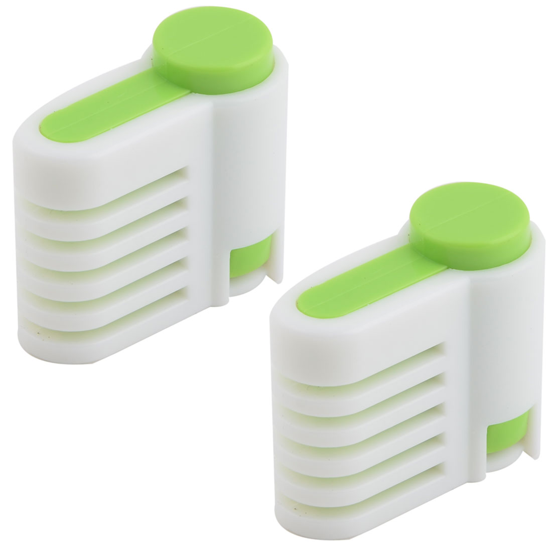 Family Kitchen Plastic Adjustable Cake Pie Bread Leveler Slicer White Green 2 Pcs