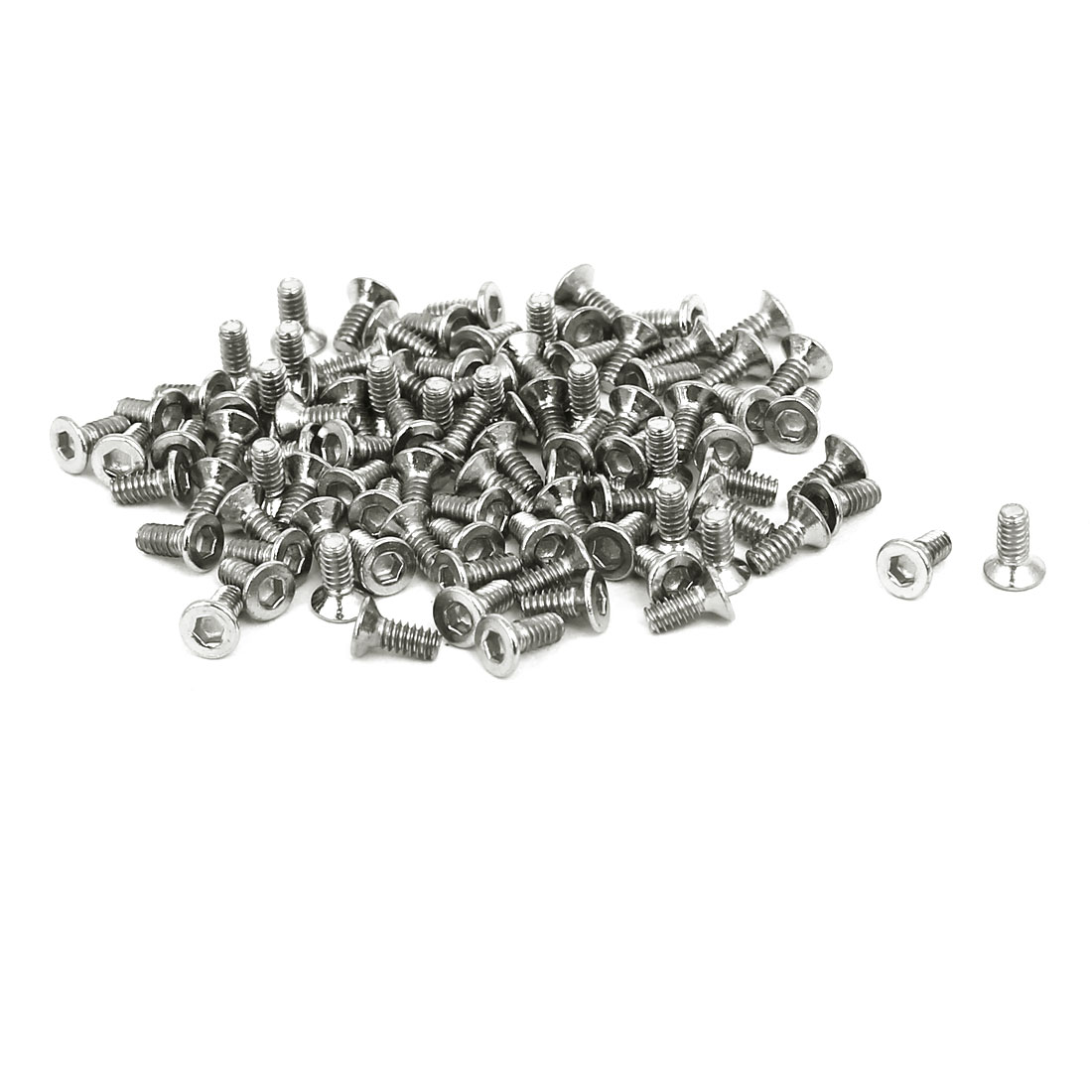 M1.6x4mm Grade 10.9 Countersunk Flat Head Hex Socket Cap Screw Silver Tone 50pcs