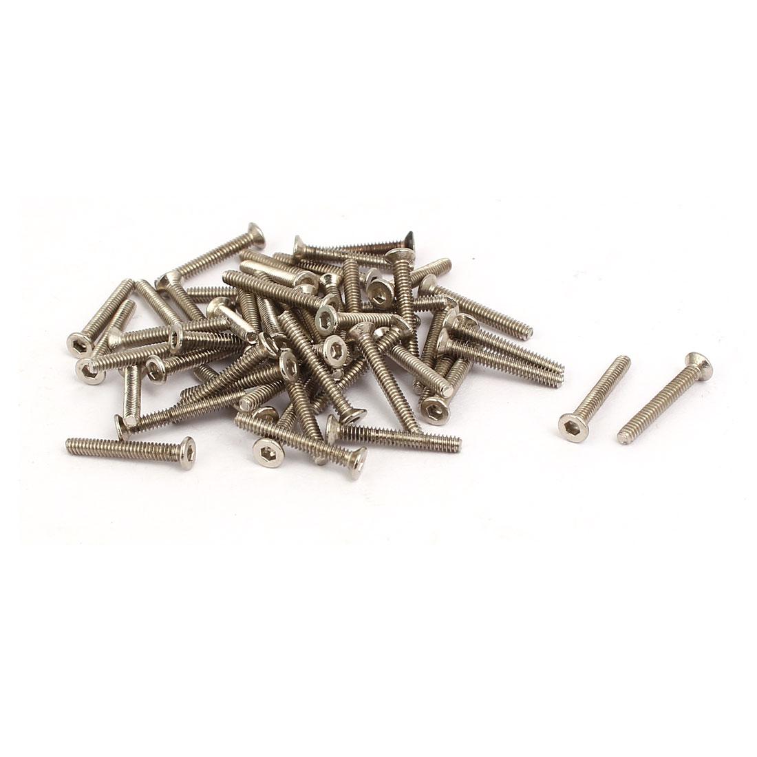 M1.6x12mm Grade 10.9 Flat Head Hex Socket Cap Screw Silver Tone 100pcs