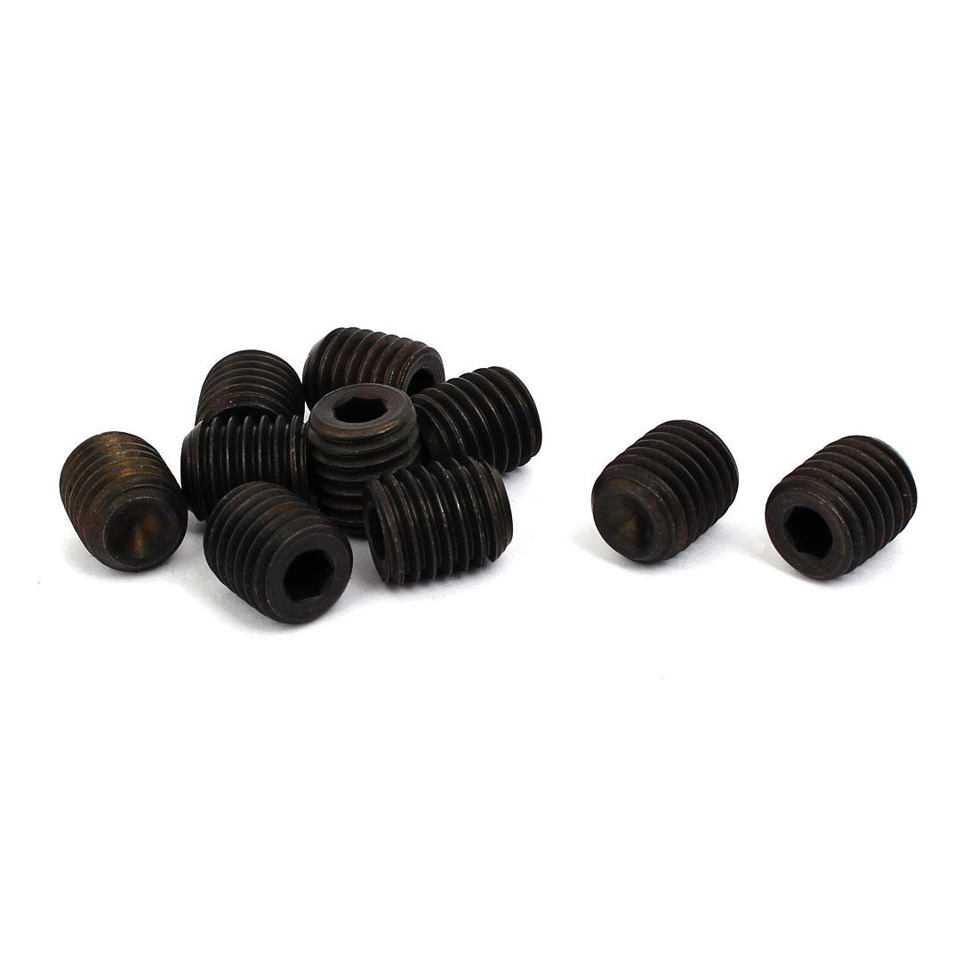M14 Dia 10.9 Grade 16mm Long Cup Point Head Hex Socket Grub Screw DIN916 10pcs