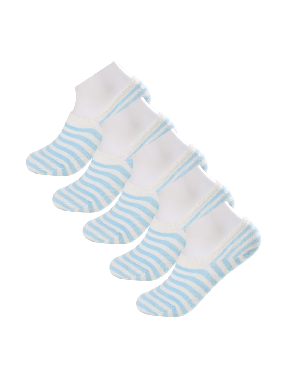 Women Color Stripes No Show Flat Boat Socks 5 pair Size 10-12 Blue