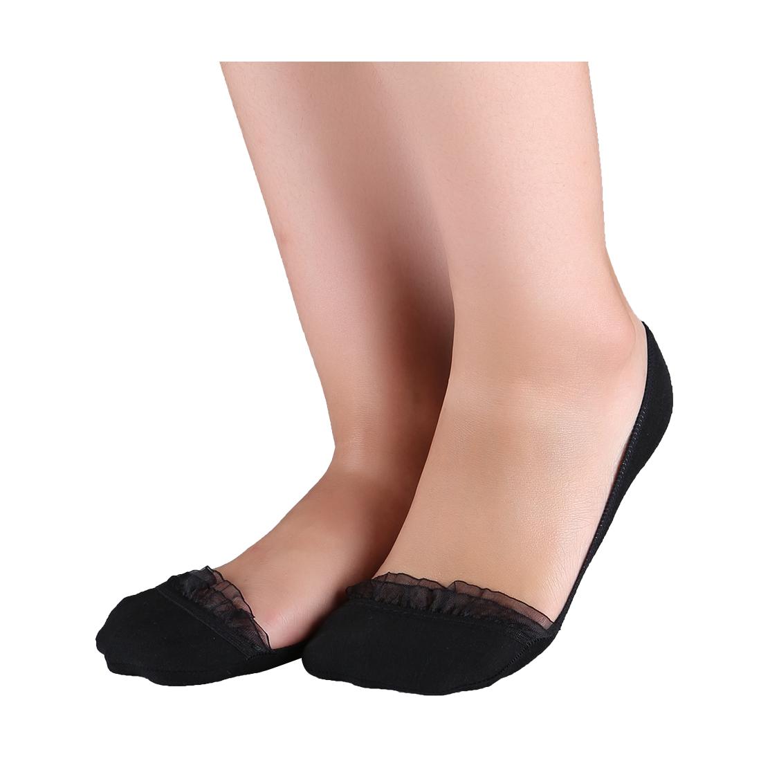 Women 10 pair Floral Lace Decor Low Cut Boat Socks 10-12 Black