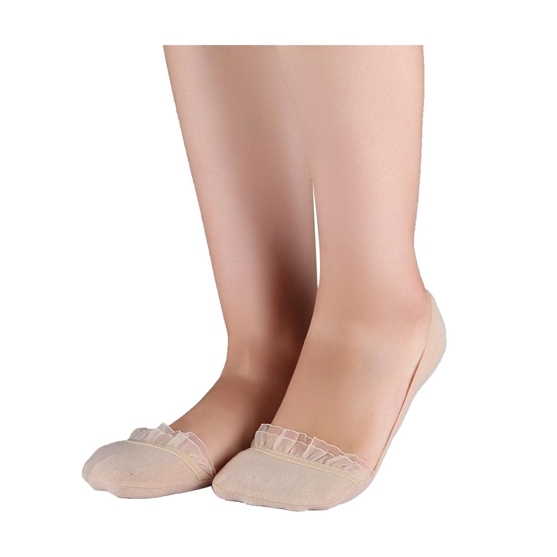 Women 10 pair Floral Lace Decor Low Cut Boat Socks 10-12 Beige