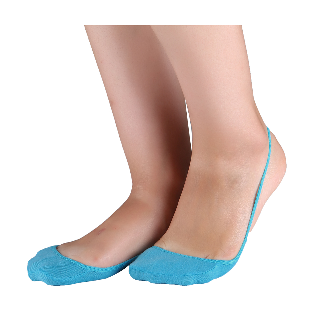 Women Heelless Invisible One Strap Cotton Half Socks 10 pair Size 9-11 Blue