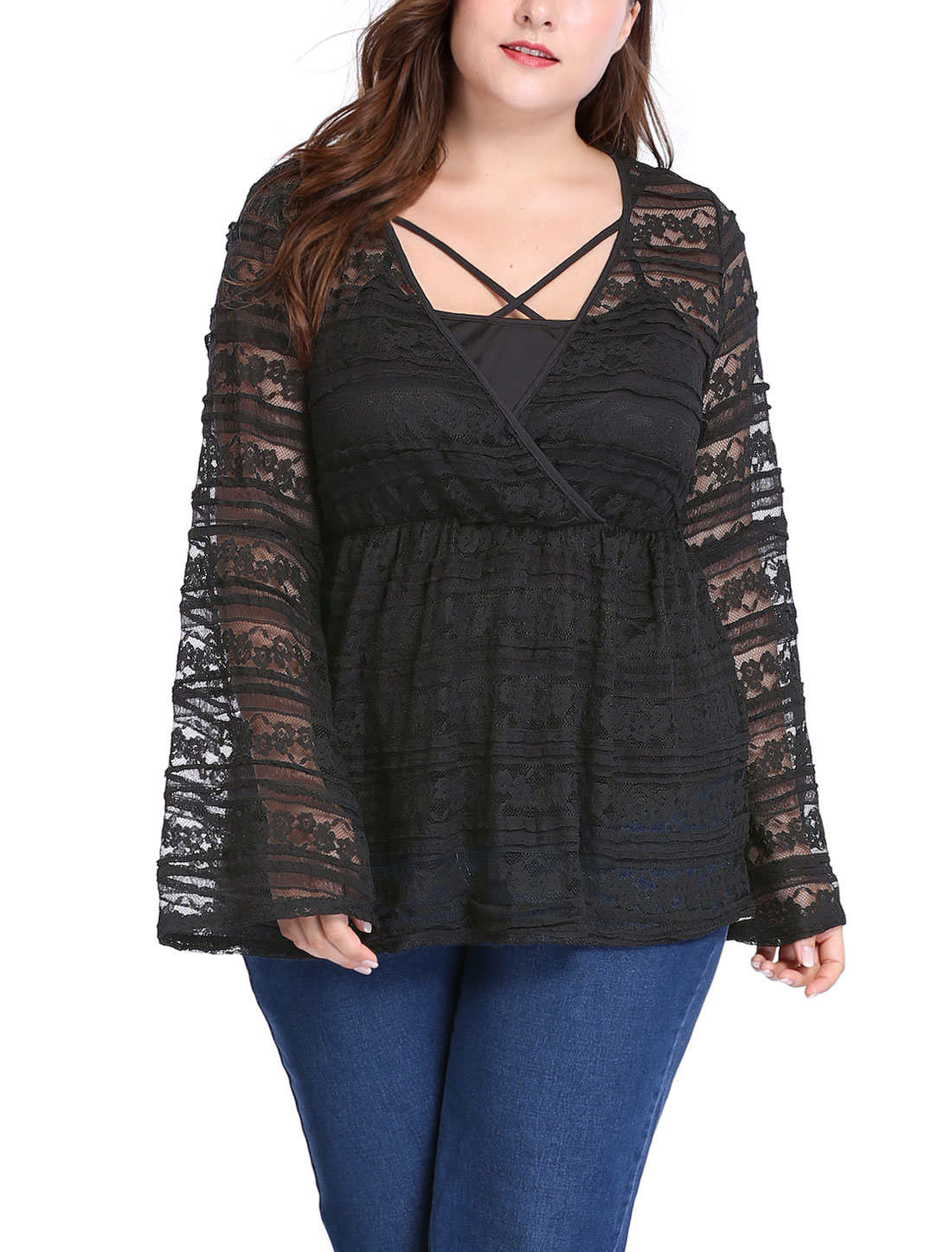 Women Plus Size Bell Sleeves Sheer Lace Babydoll Top w Camisole Sets Black 2X