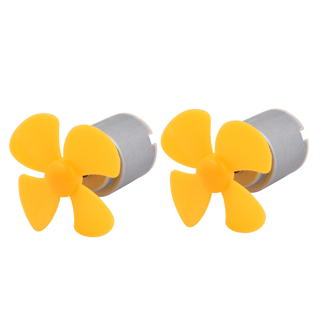 2pcs DC 3V 0.13A 6600RPM Strong Force Motor 4 Vanes 40mm Yellow Propeller for RC Aircraft