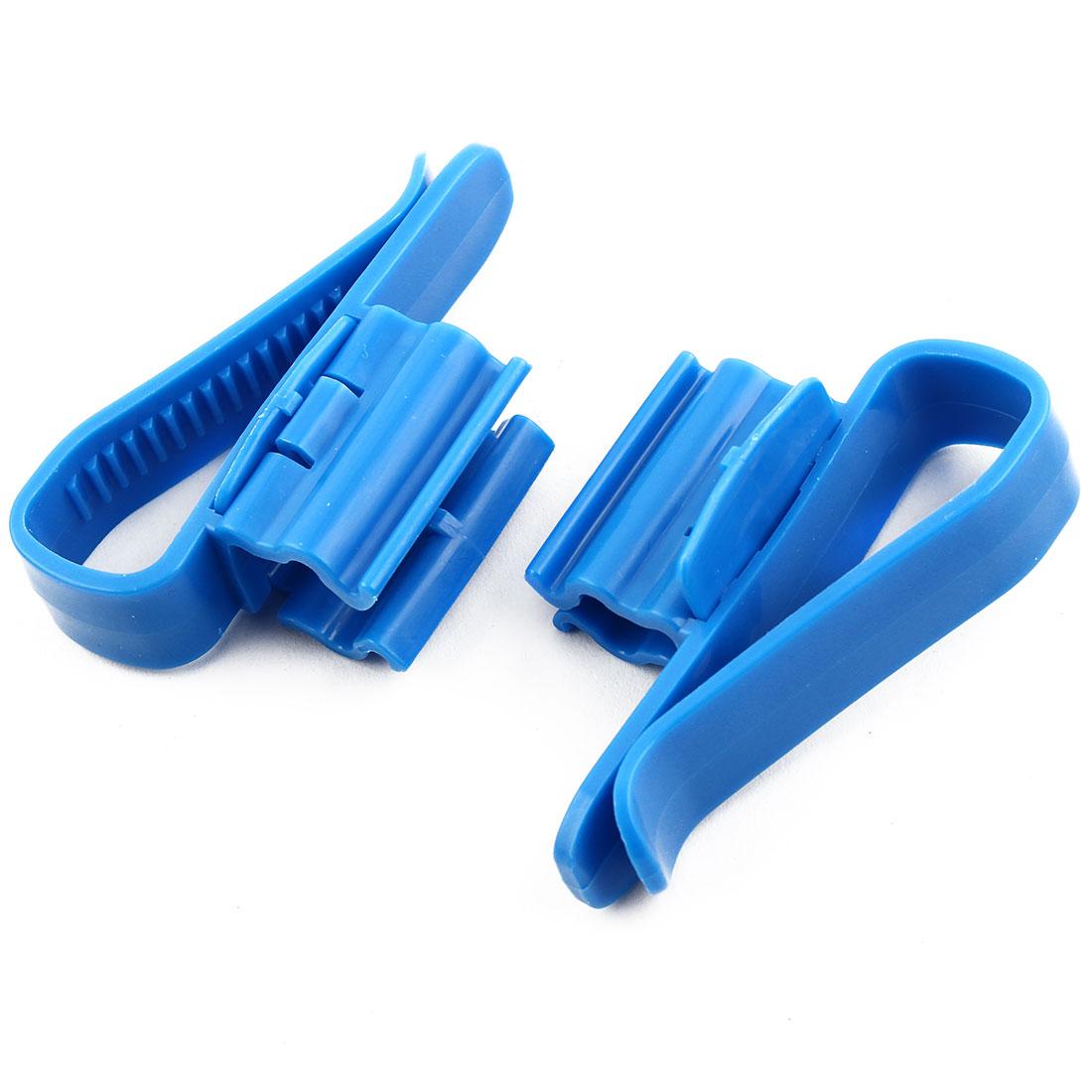 Aquarium Plastic Adjustable Mount Water Hose Pipe Filter Tube Holder Blue 2pcs