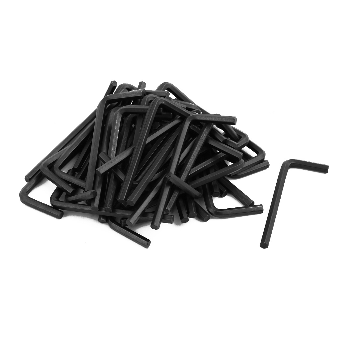 50pcs M5 5mm Chrome Vanadium Steel w Black-oxide Long Arm Hex Key Wrench Metric Black
