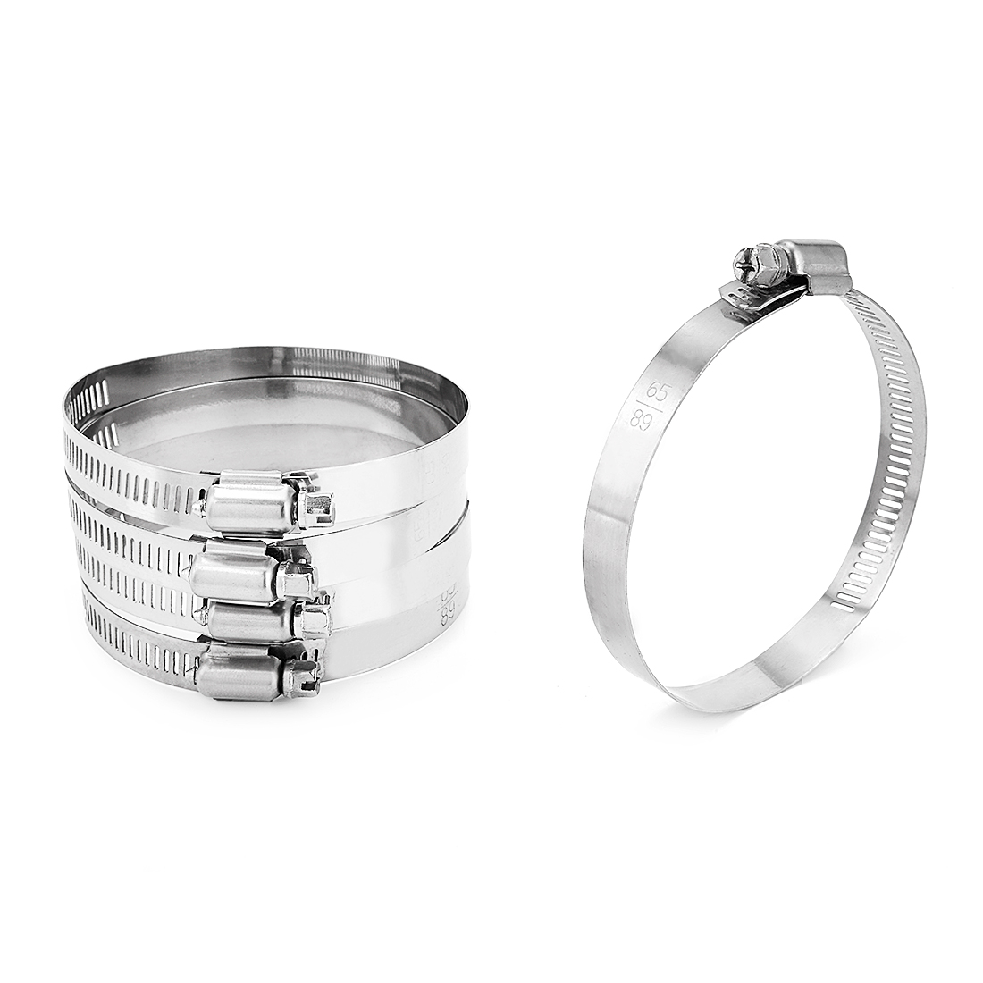 2.6-inch to 3.5-inch Clamping Range 201 Stainless Steel American Worm Gear Hose Clamp 5pcs