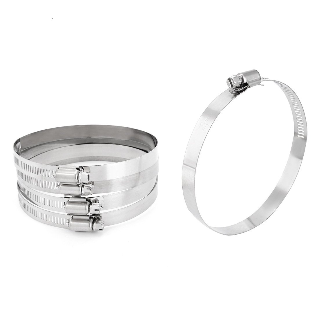 3.6-inch to 4.5-inch Clamping Range 201 Stainless Steel American Worm Gear Hose Clamp 5pcs