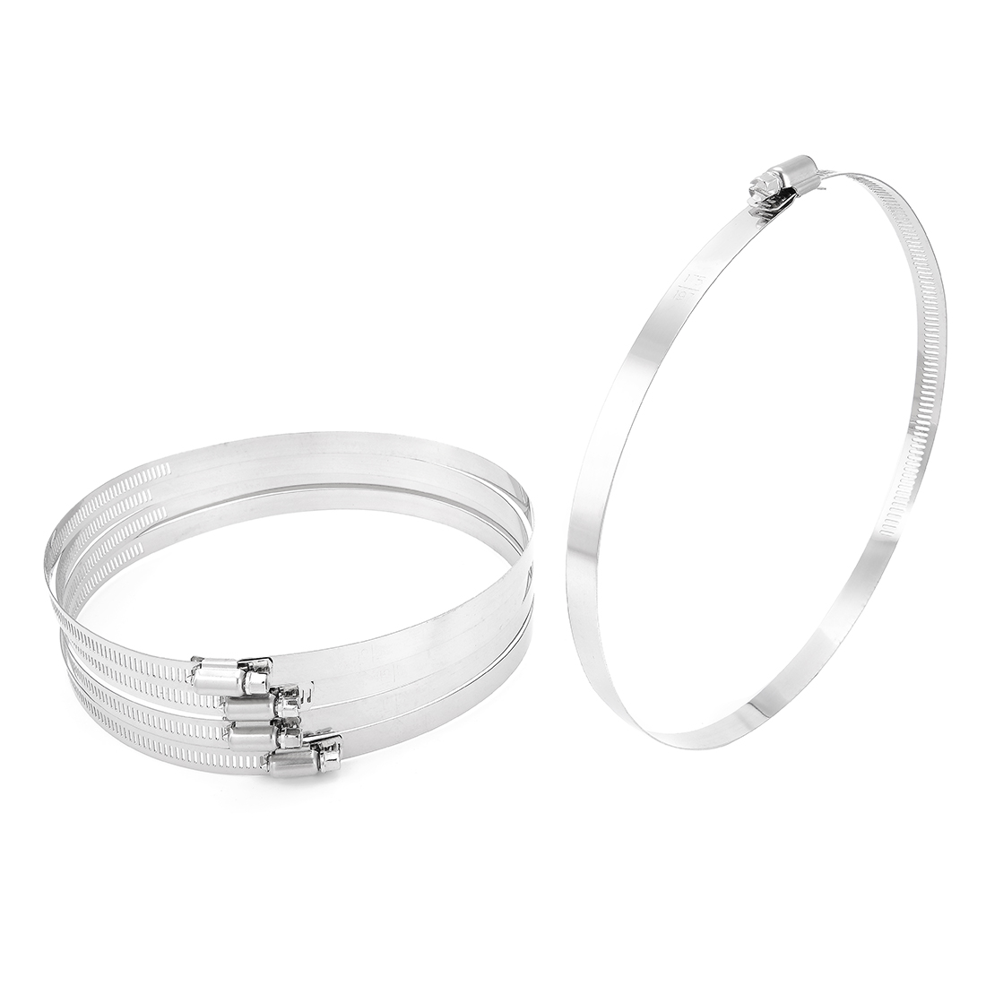 6.89-inch to 7.76-inch Clamping Range 201 Stainless Steel American Worm Gear Hose Clamp 5pcs