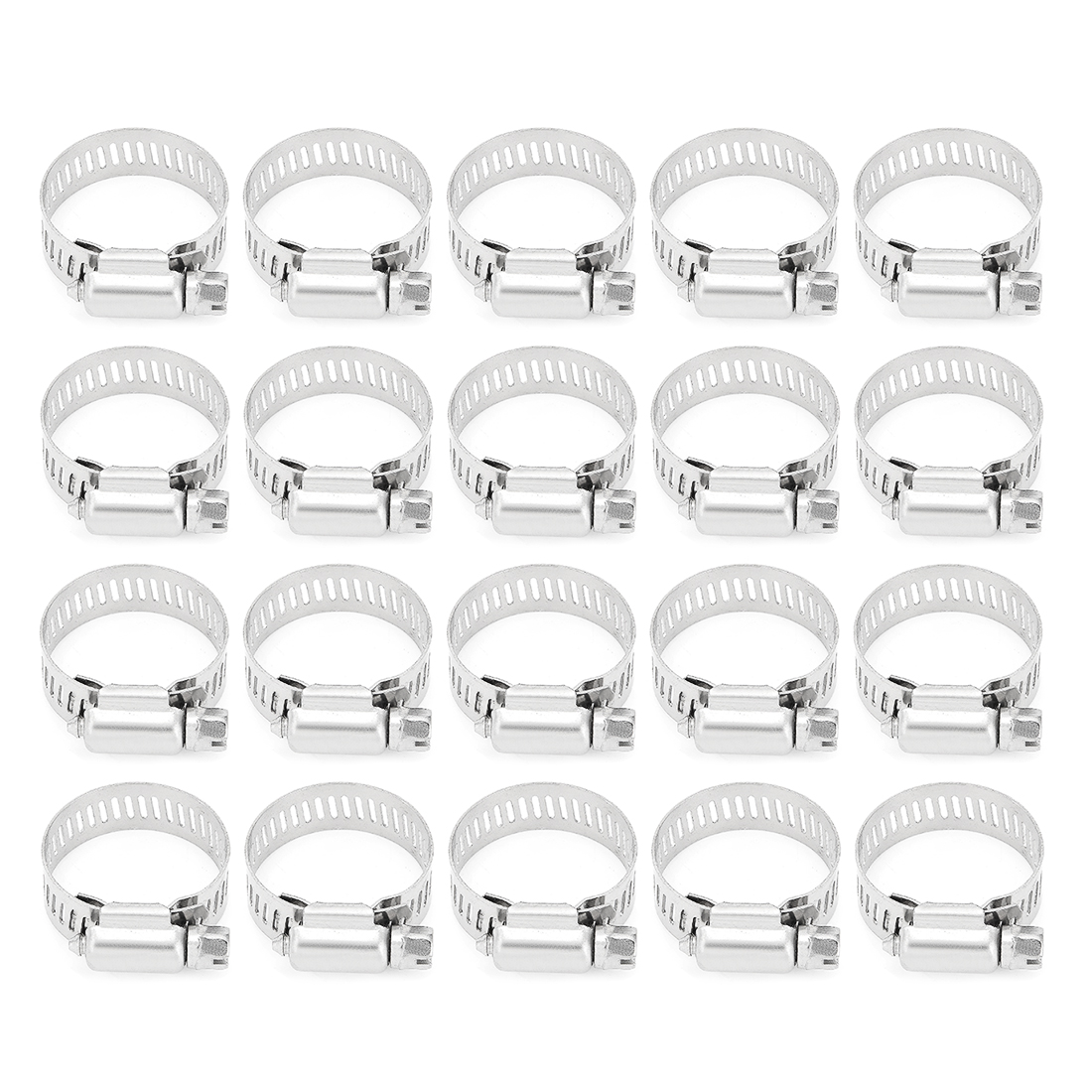 18-32mm Clamping Range 304 Stainless Steel American Worm Gear Hose Clamps 20pcs