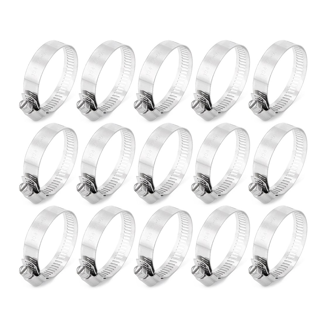 27-51mm Clamping Range 304 Stainless Steel American Worm Gear Hose Clamps 15pcs