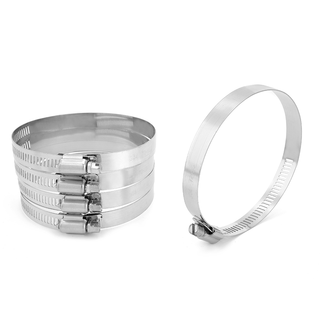2.83-inch to 3.74-inch Clamping Range 304 Stainless Steel American Worm Gear Hose Clamp 5pcs