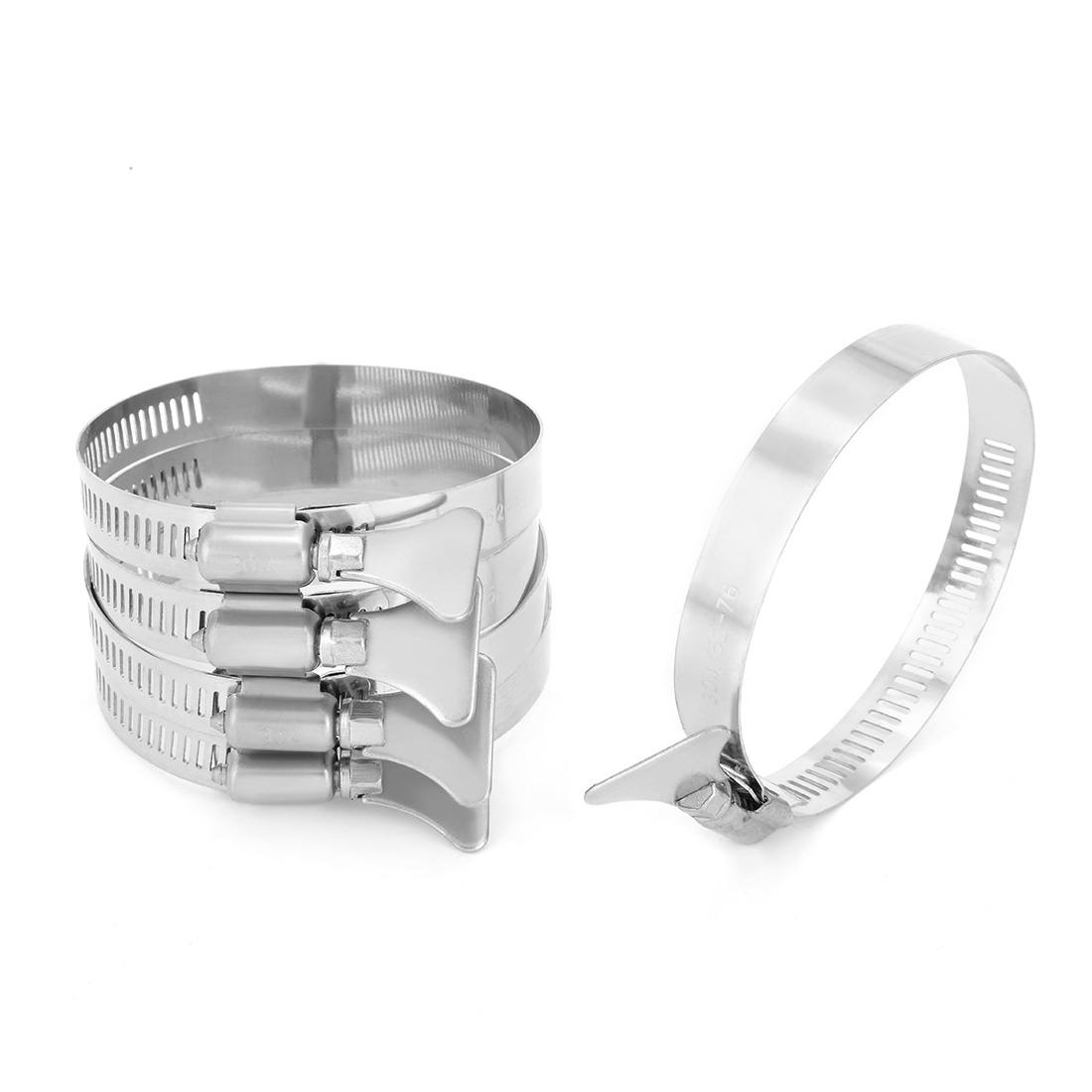 52mm-76mm Clamping Range 304 Stainless Steel Butterfly Hose Clamp 5pcs