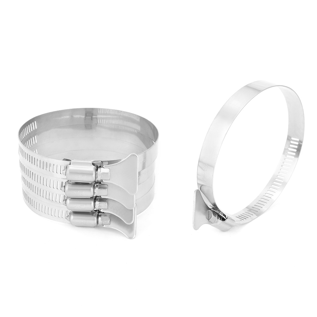 65mm-89mm Clamping Range 304 Stainless Steel Butterfly Hose Clamp 5pcs