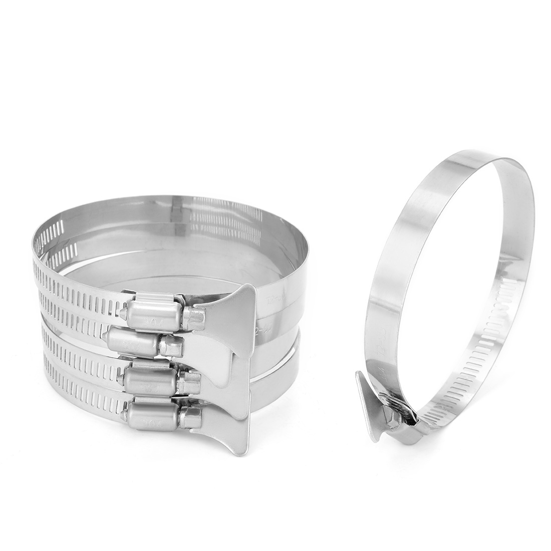 72mm-95mm Clamping Range 304 Stainless Steel Butterfly Hose Clamp 5pcs