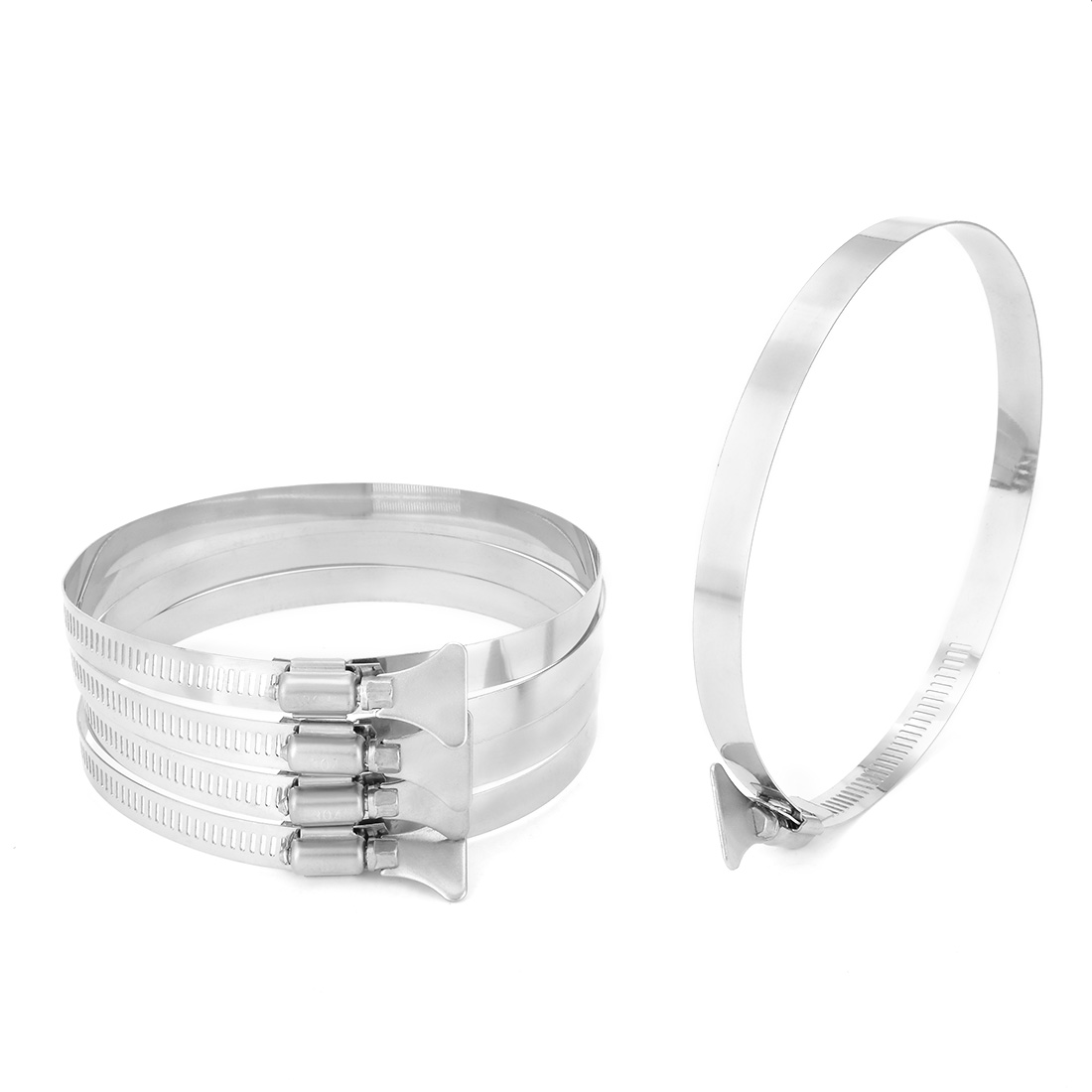 105mm-127mm Clamping Range 304 Stainless Steel Butterfly Hose Clamp 5pcs