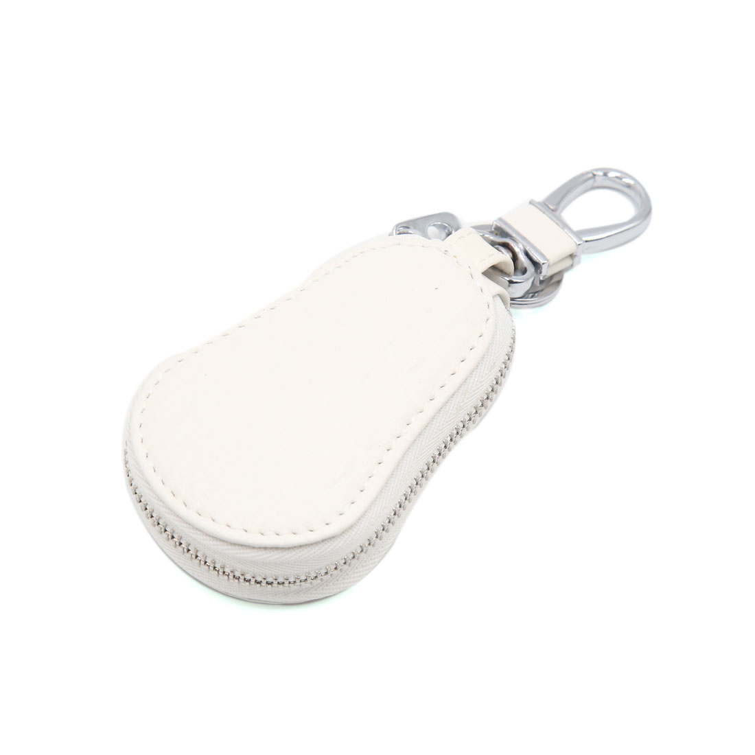 White Faux Leather Gourd Type Smart Chain Coin Holder Zipper Bag for Auto Remote Key
