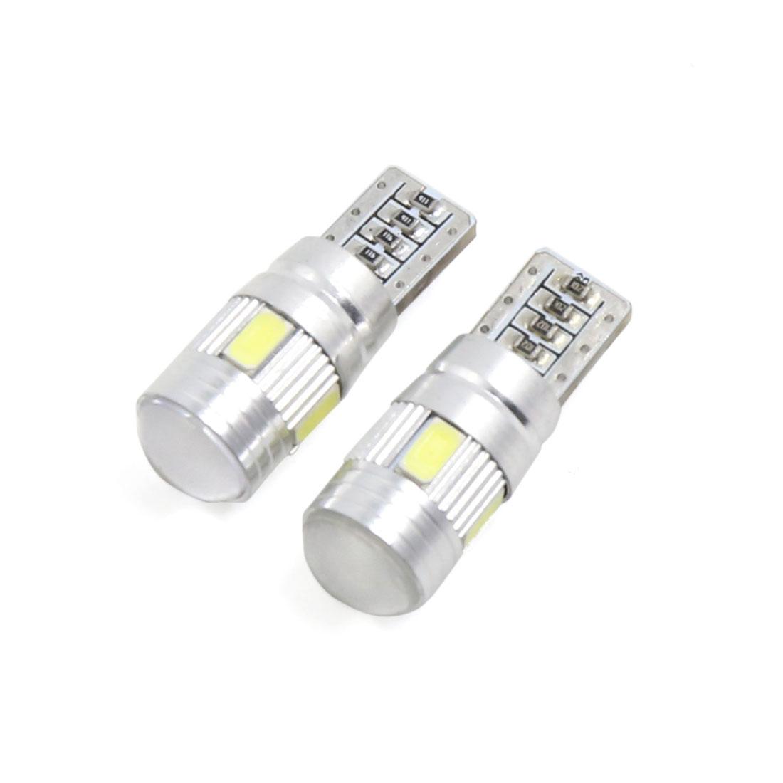 2PCS Error Free T10 White 6 LED Car Side Wedge Dashboard Light Interior