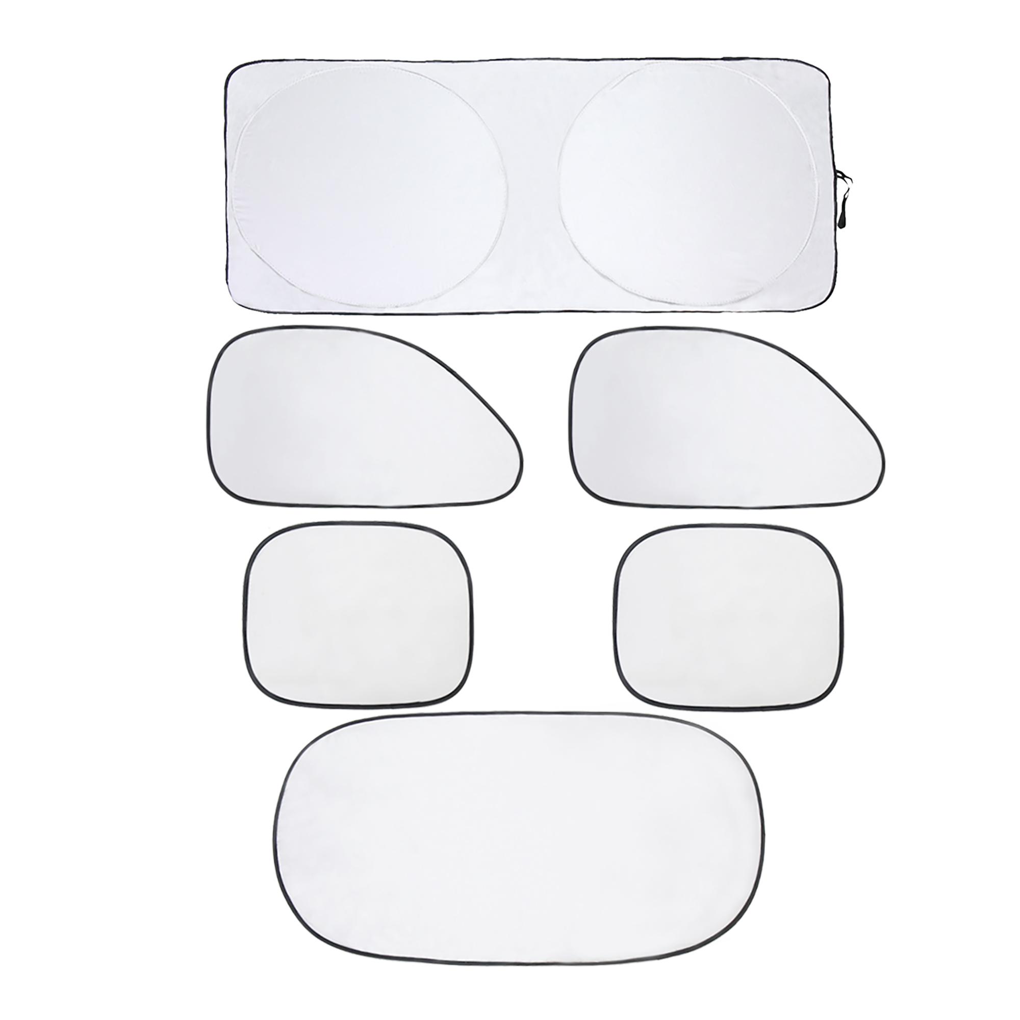 6 Pcs Foldable Silver Tone Car Sun Shade UV Rays Full Protection Universal