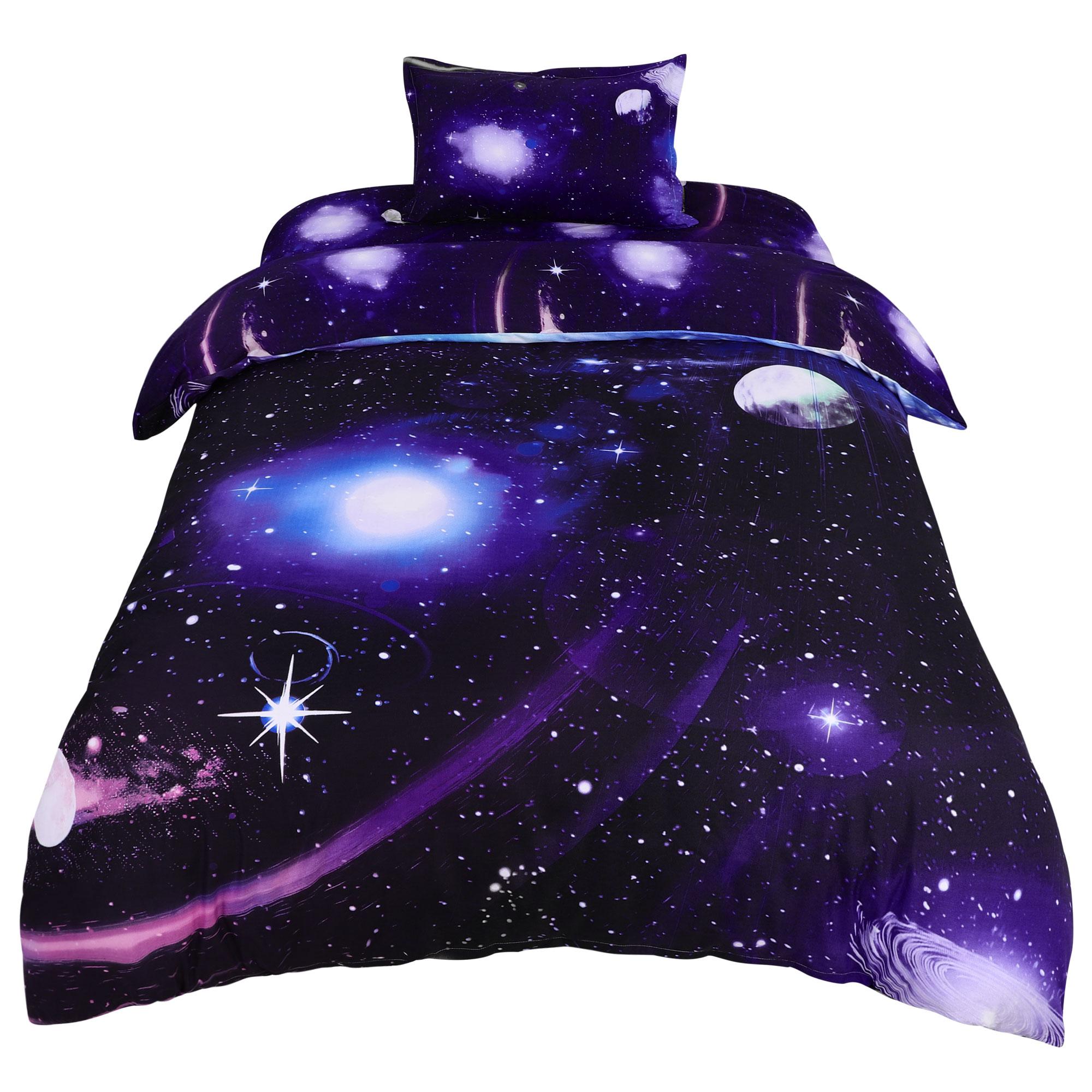 Star Sky Moon Night Duvet Cover Dark Purple Single Size 3pcs