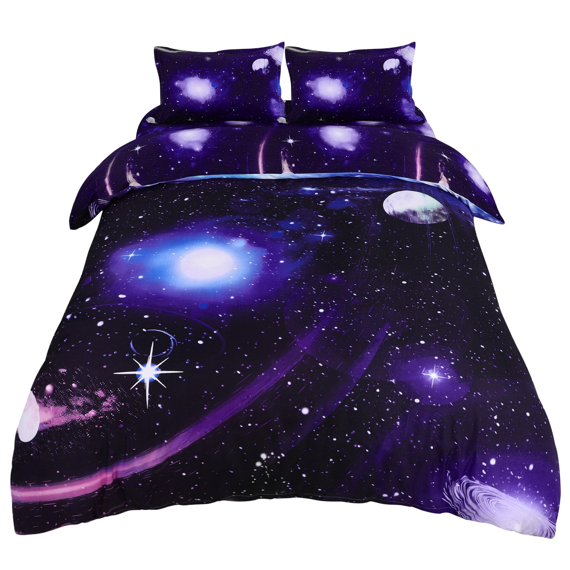 4pcs Galaxy Duvet Cover Set with Flat Sheet &Pillowcase Dark Purple Queen
