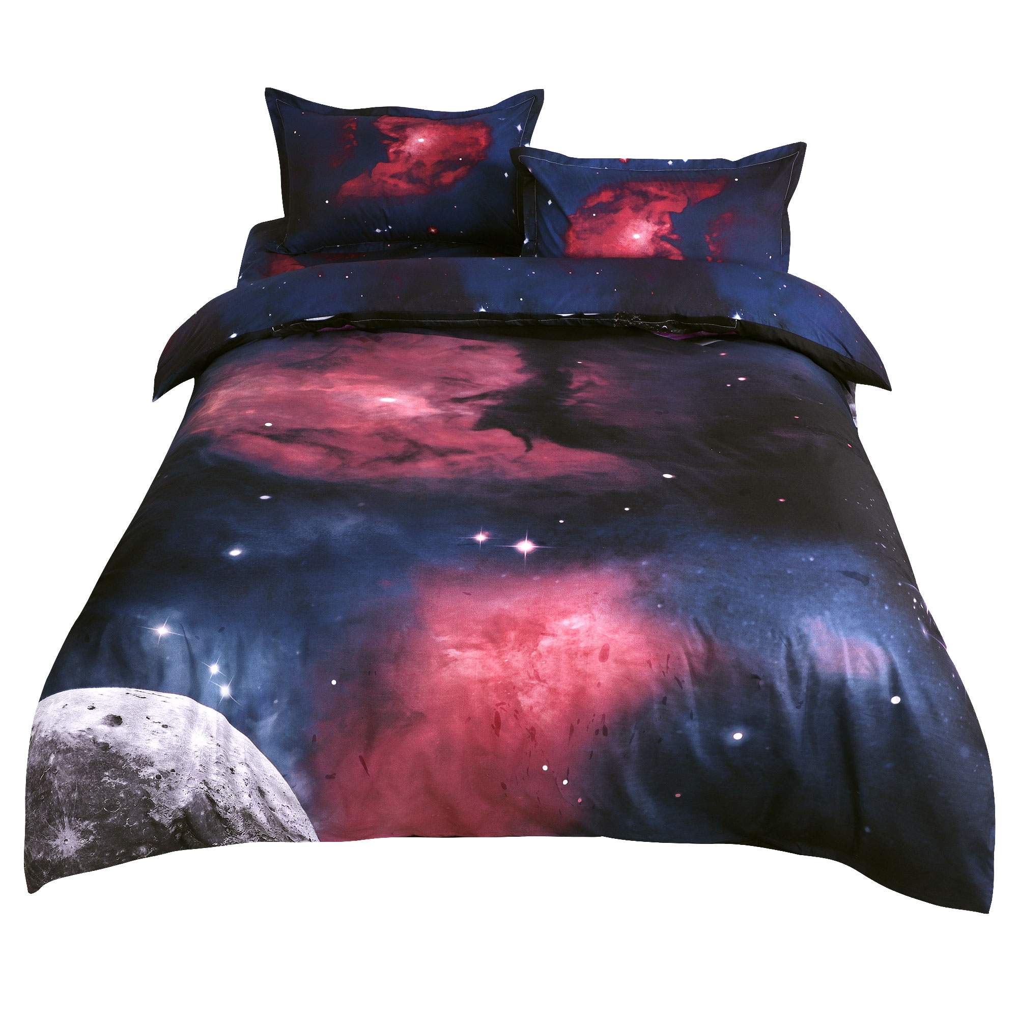 Star Colored Sky Moon Night Duvet Cover Fuchsia Starry Pattern 4pcs Queen