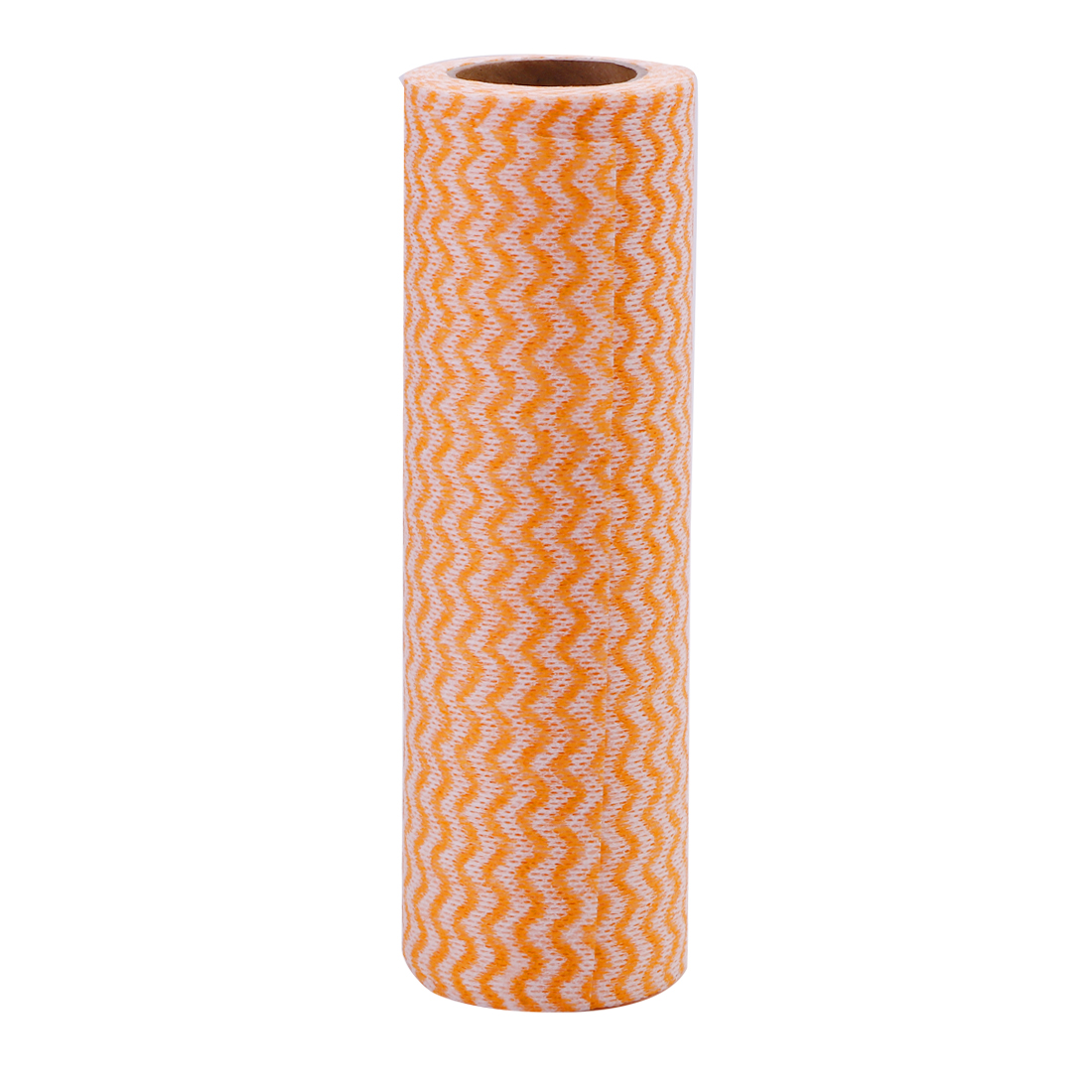 Home Non-woven Fabric Wave Print Bowl Dish Washable Cleaning Cloth Roll Orange