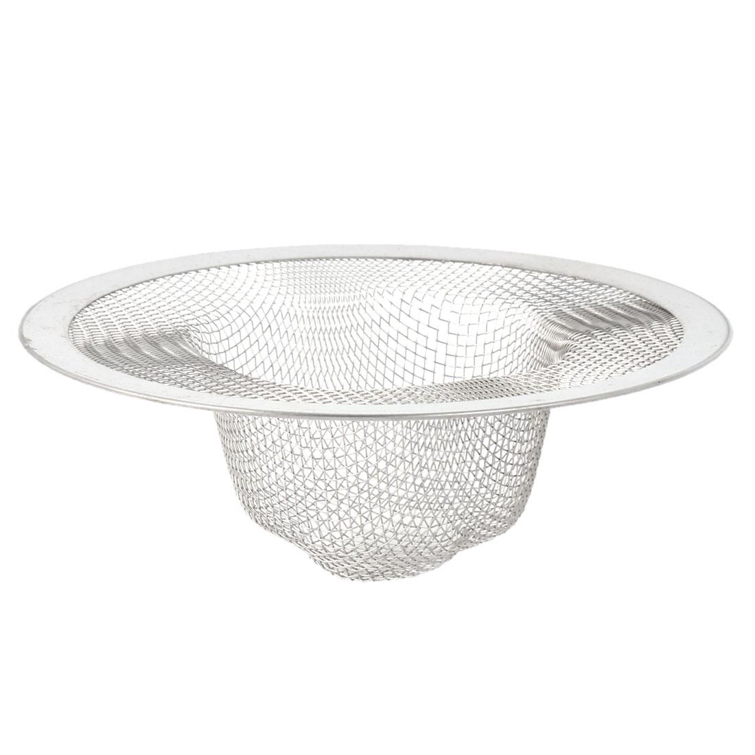 Kitchen Metal Sink Strainer Filter Sieve Drain Net Silver Tone 11.2cm Dia