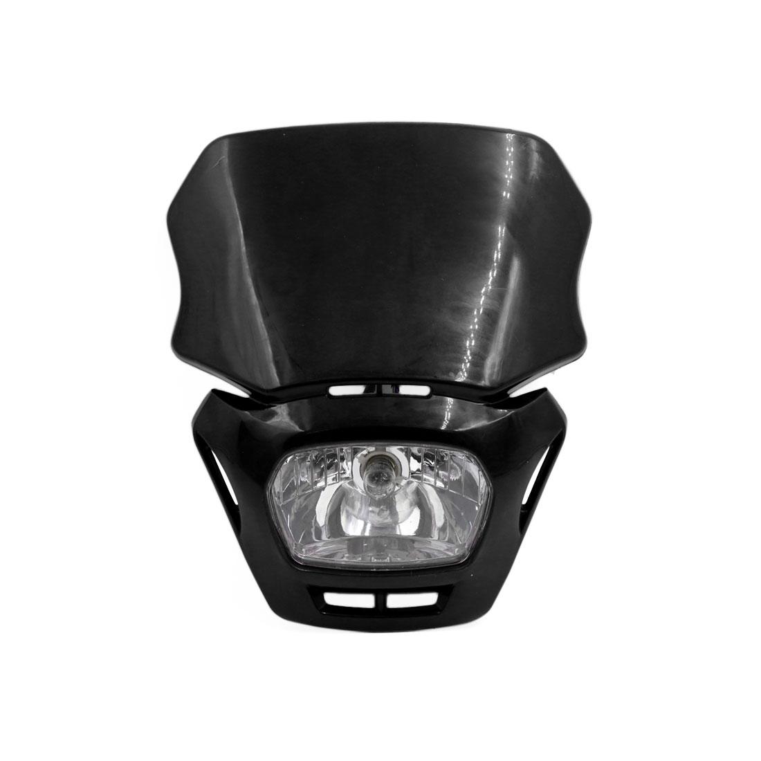 Black Shell Motorcycle Street Fighter Front Headlight Fairing Lamp Light Yellow