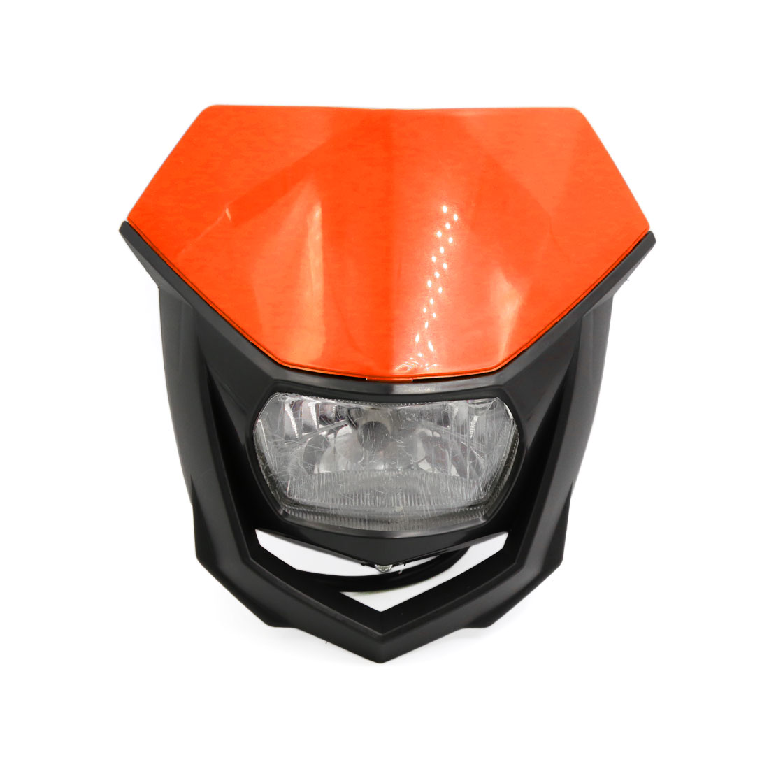 Black Orange Shell Motorcycle Streetfighter Headlight Fairing Lamp Light Yellow
